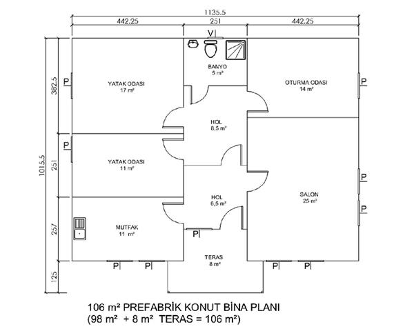 M2 lik prefabrik yapı 94 m2 lik prefabrik yapı 106 m2 lik prefabrik