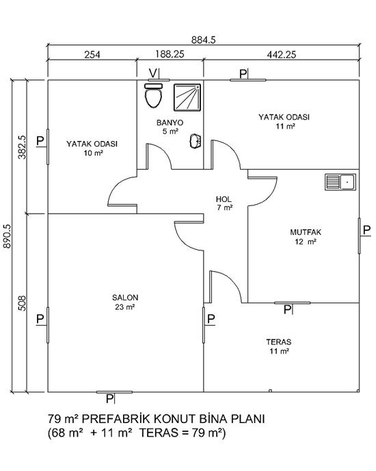 90 m2 lik prefabrik yapı 94 m2 lik prefabrik yapı