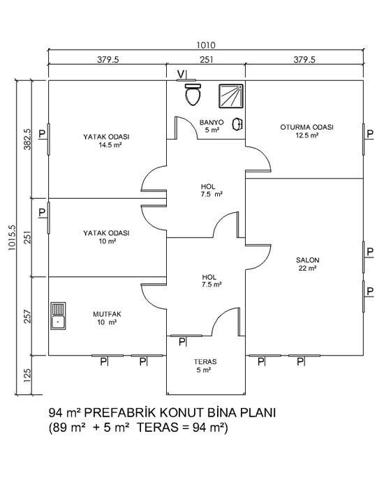 94 m2 lik Prefabrik Yapı
